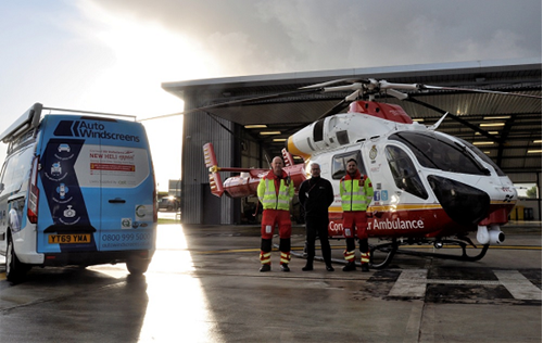 Auto Windscreens staff with the Cornwall Air Ambulance